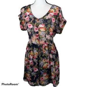 5/$25 floral button front sheer dress medi…